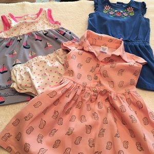3 girls outfits size 12 months owls boats floral